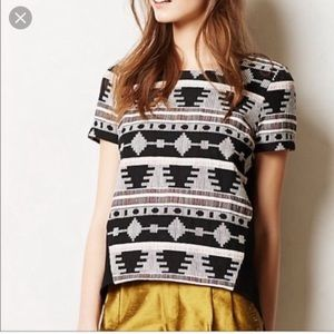 Anthro SUNDAY IN BROOKLYN Tribal pattern top